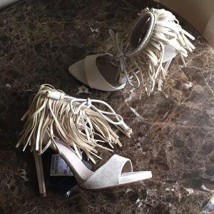 Zara basic Fringe tassel ankle strap sandal heels